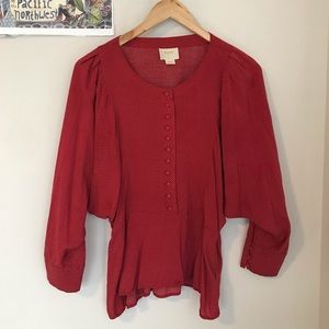 Anthropologie Maeve Chatham Red Polka Dot Dolman